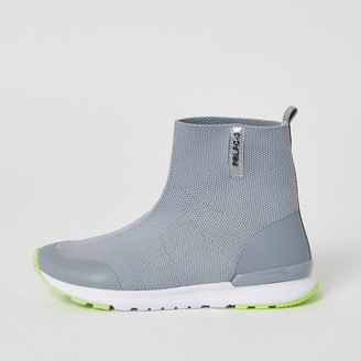 River Island Boys grey Prolific high top knit trainers