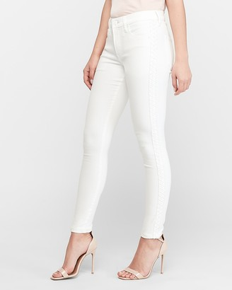 Express Mid Rise White Embroidered Ankle Skinny Jeans