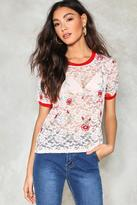 Nasty Gal Plant One Embroidered Lace Top