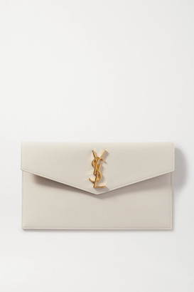 Saint Laurent Uptown Textured-leather Pouch - White