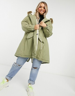 Sixth June oversized parka coat with faux fur hood