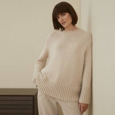 The White Company Chunky Swing Jumper with Alpaca, Camel, Extra Small