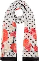 GUESS Floral polka dot long scarf