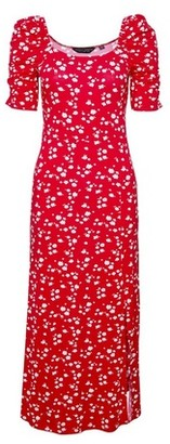 Dorothy Perkins Womens Red Ditsy Print Midi Shift Dress, Red