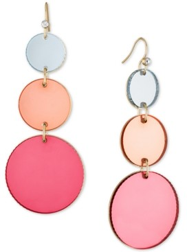 Rachel Roy Gold-Tone Pink Disc Triple Drop Earrings