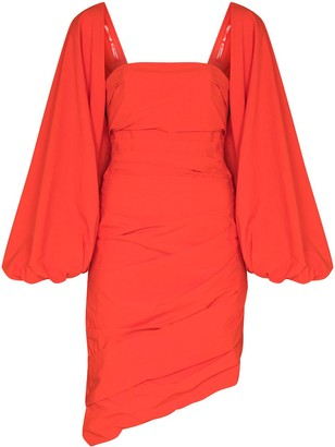Johanna Ortiz Puff-Sleeved Draped Mini Dress