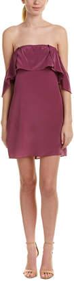 Lavender Brown Cold-Shoulder Silk Shift Dress