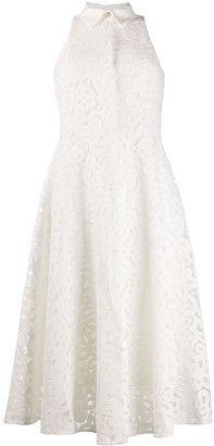 Erika Cavallini Point-Collar Sleeveless Lace Shirtdress