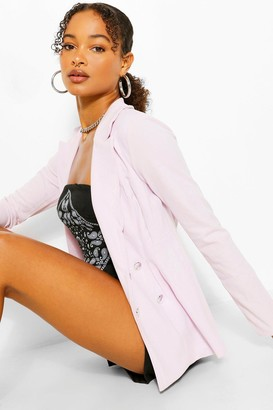 boohoo Double Breasted Cinched In Waist Blazer