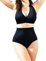 Lukitty Women's Plus Size Retro High Waist Bikini Sets Swimsuits Bathing Suits XXXL