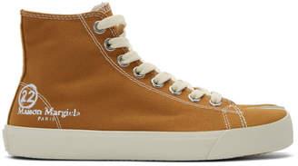Maison Margiela Tan Canvas Tabi High-Top Sneakers