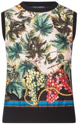 Dolce & Gabbana Cashmere-Silk Grape Print Tank Top