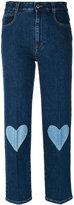 Stella McCartney cropped heart-embroidered jeans