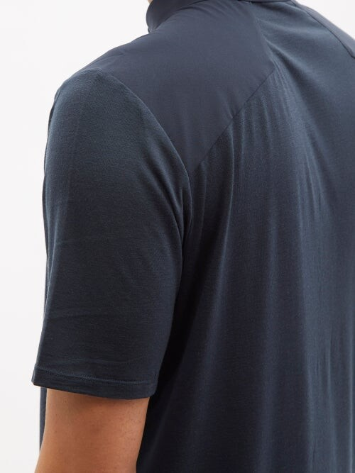 Thumbnail for your product : Veilance Frame Zipped Merino-wool Blend Jersey Polo Shirt - Navy