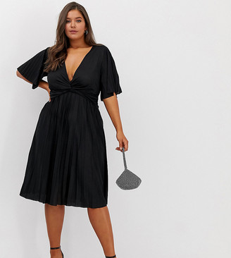Asos DESIGN Curve twist detail pleated kimono midi dress