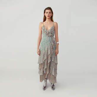 Fame & Partners Pleated Ruffle Wrap Dress