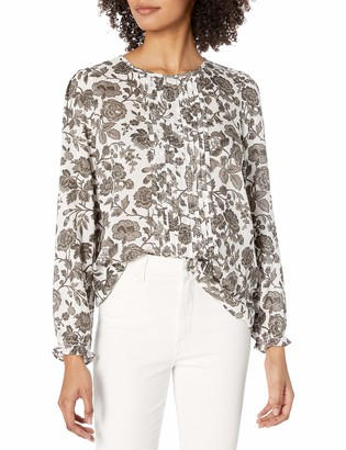 Lucky Brand Women's Long Sleeve Scoop Neck Floral Lea Pintuck Blouse