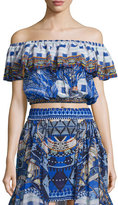 Camilla Off-The-Shoulder Midriff Frill Top, Rhythm & Blues