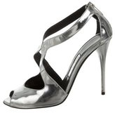 Balmain Metallic Leather Sandals