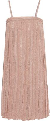Missoni Pleated Metallic Crochet-knit Mini Dress