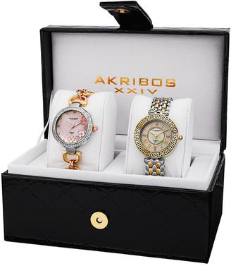 Akribos XXIV Women's Set Of 2 Diamond Watches