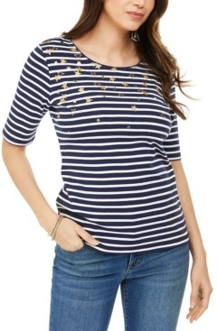 Karen Scott Printed Elbow-Sleeve Cotton Top, Created for Macy's