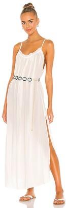 Indah Yasmine Solid Gathered Neckline Sundress Maxi