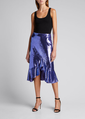 Tom Ford Sequin Flounce Midi Skirt