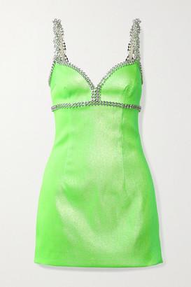 Area Crystal-embellished Neon Lurex Mini Dress - Light green