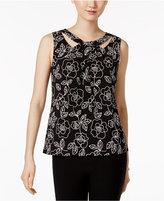 Nine West Printed Cutout-Neck Shell