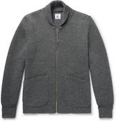 Arpenteur - Shawl-collar Wool Zip-up Cardigan - Gray