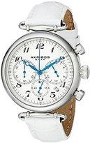 Akribos XXIV Women's AK630SSW Retro Silver-Tone Stainless Steel White Leather Strap Watch