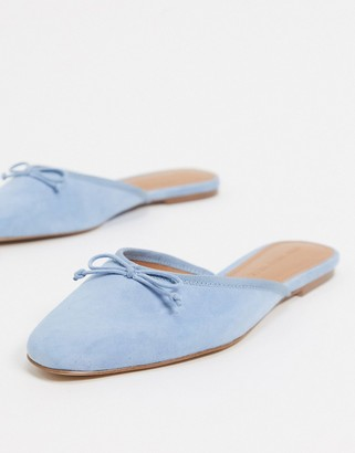 Who What Wear Cara mule ballet flat shoes in blue leather