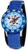 Disney Toy Story Woody & Jessie Kid's Time Teacher Watch with Rotating Bezel- Blue Strap