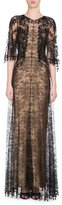Givenchy Beaded Lace Capelet Gown, Black