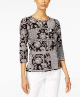 Alfred Dunner Petite Floral-Print Patchwork Top