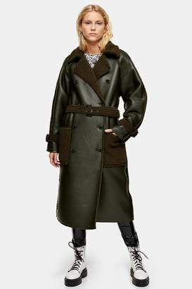 Topshop Womens Tall Reversible Borg Coat - Khaki