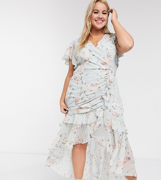 Forever New Curve high low ruched midi dress in soft mint floral