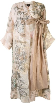 Biyan Razmira floral-embroidered patchwork evening coat