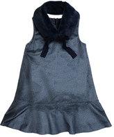 Imoga Penelope Velour Drop-Waist Faux-Fur Collar Dress, Blue, Size 2-6