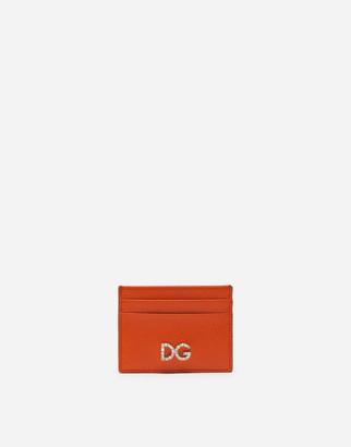 Dolce & Gabbana Dauphine Calfskin Card Holder With Rhinestone-Detailed Logo