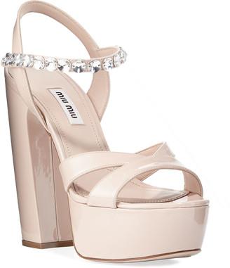 Miu Miu Patent Crystal-Strap Platform Sandals