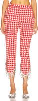 Area Crystal Trim Trouser in Red & Ecru | FWRD