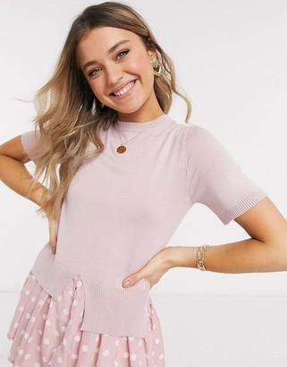 New Look spot undershirt fine knit in pink