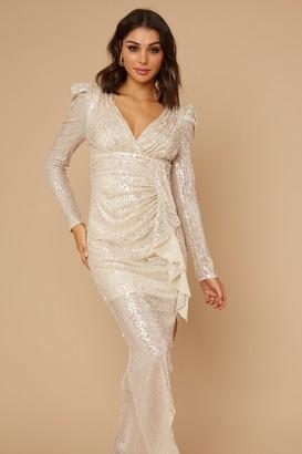 Little Mistress Baylor Champagne Sequin Frill Maxi Dress