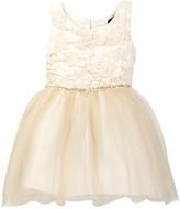 Zunie Blister Floral Brocade Dress (Toddler & Little Girls)