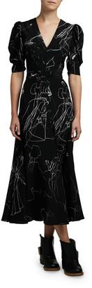 Alexander McQueen Dancing Girl Print Puff-Sleeve A-Line Dress