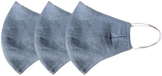 Rumour London Pack Of 3 Linen Protective Cloth Mask In Blue