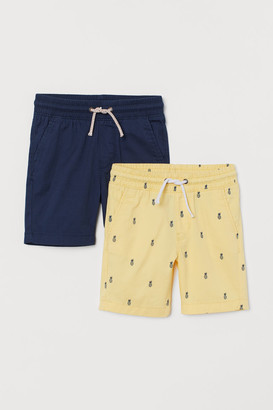 H&M 2-pack Cotton Shorts - Yellow