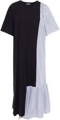 Clu Gathered Striped Cotton-poplin And Jersey Midi Dress